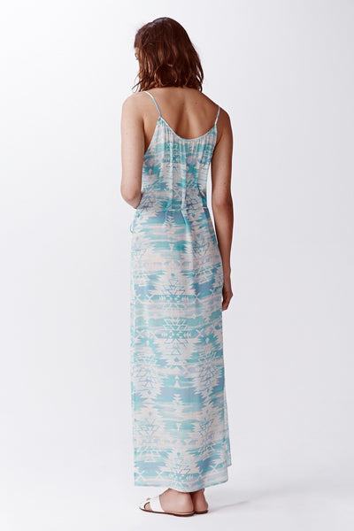 blue and white silk aztec maxi dress back