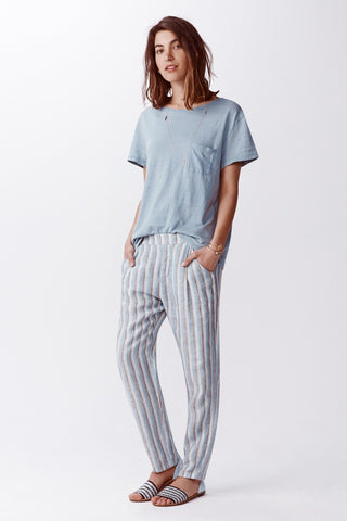 Stripe Linen Pant - Reef Blue