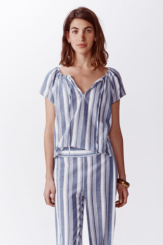 Acadia Stripe Top - Navy