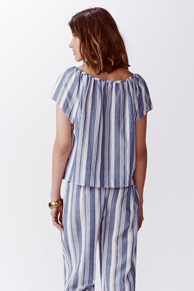 blue and white stripe peasant top back