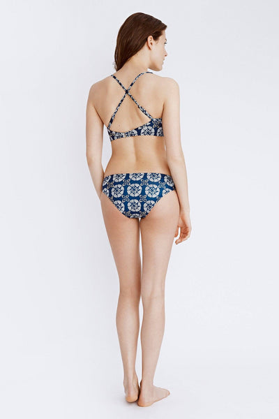blue and white printed bikini bottom back view