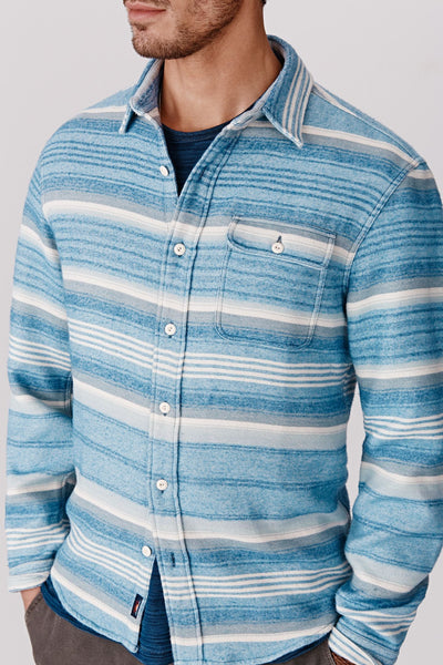 blue, gray, and white mens stripe shirt closeup