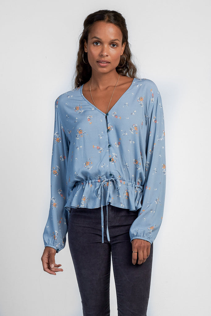 Alexandra Top - Steel Blue Floral Breeze