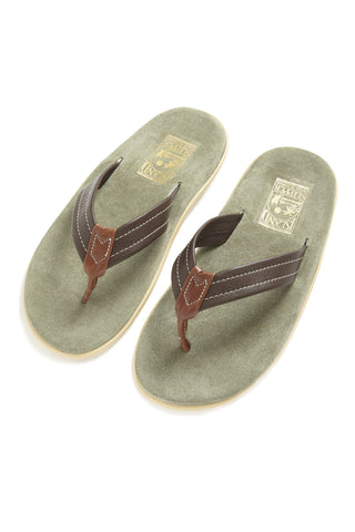 Island Slipper Leather Sandal - Sage/Brown