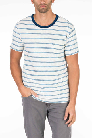 Indigo Pocket Tee - Shoreline Stripe