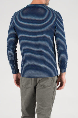 LS Indigo Stripe Pocket Crew - Dark Wash