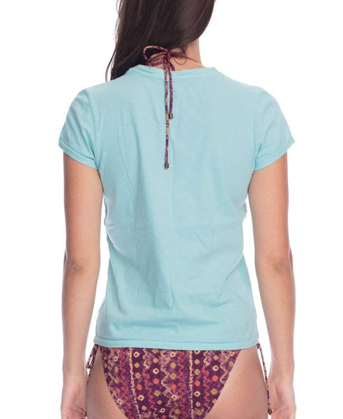 Organic Cotton V Neck Tee - Vintage Turquoise