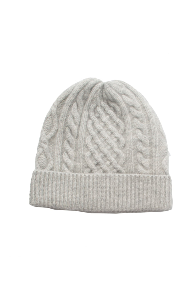Cashmere Cable Beanie- Light Grey