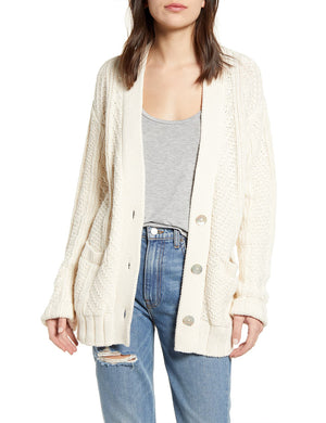 Cotton Cable Cardigan - Cream