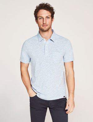Short-Sleeve Heather Polo - Faded Denim