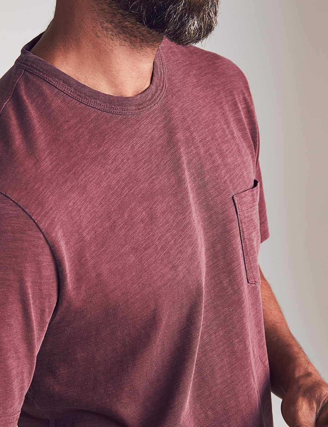 Sunwashed Pocket Tee - Merlot