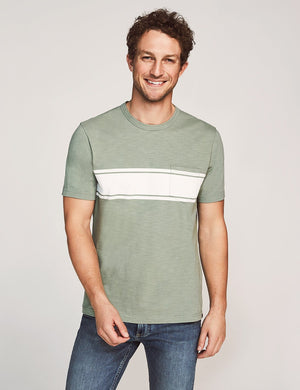 Short-Sleeve Surf Stripe Pocket Tee - Olive Surf Stripe