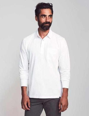 Sunwashed Long-Sleeve Polo - White