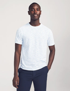 Short-Sleeve Heather Striped Tee - White Azure Stripe