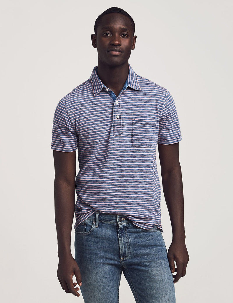 Short-Sleeve Indigo Polo - Baypoint Stripe