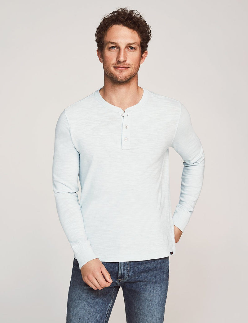 Slub Cotton Henley - Glacier Blue