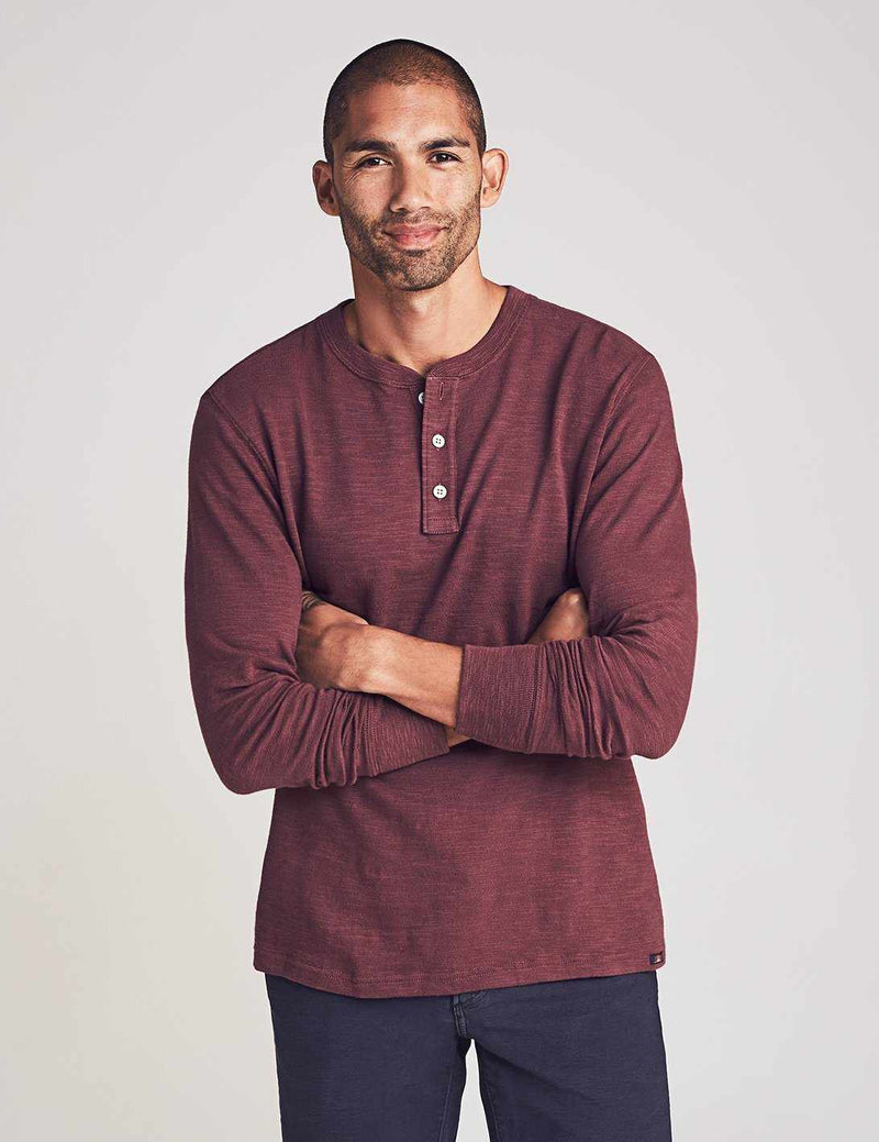 Slub Cotton Henley - Merlot