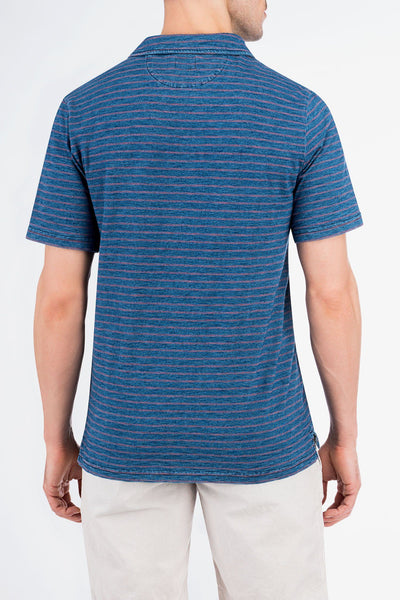 Jersey Beach Polo - Medium Wash Indigo/Red Stripe