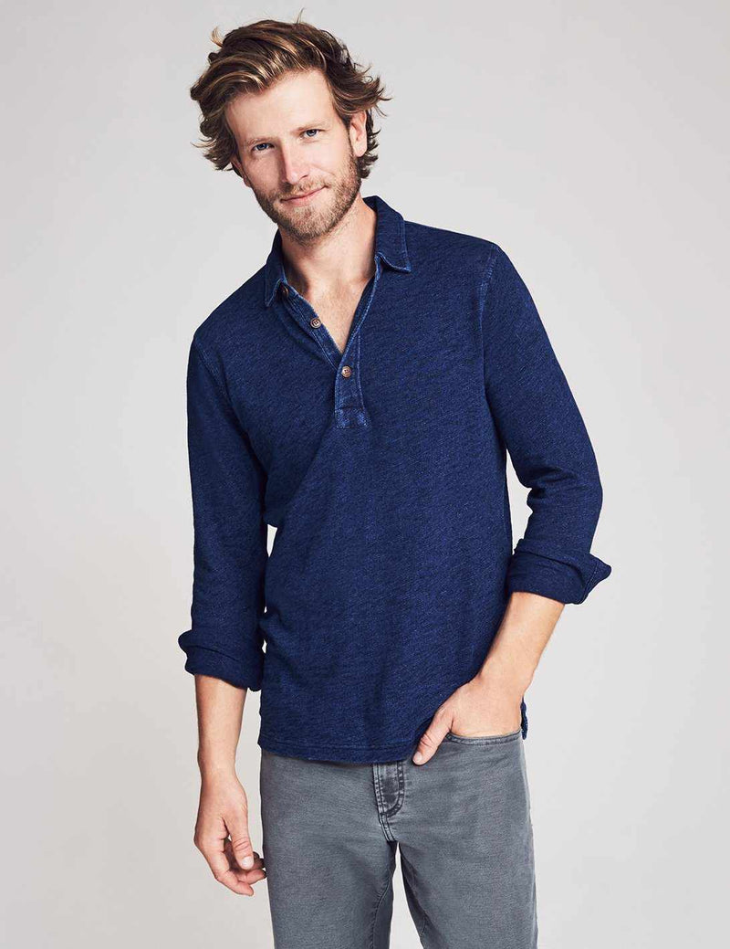 Long-Sleeve Indigo Logger Polo - Recycle Dark Wash