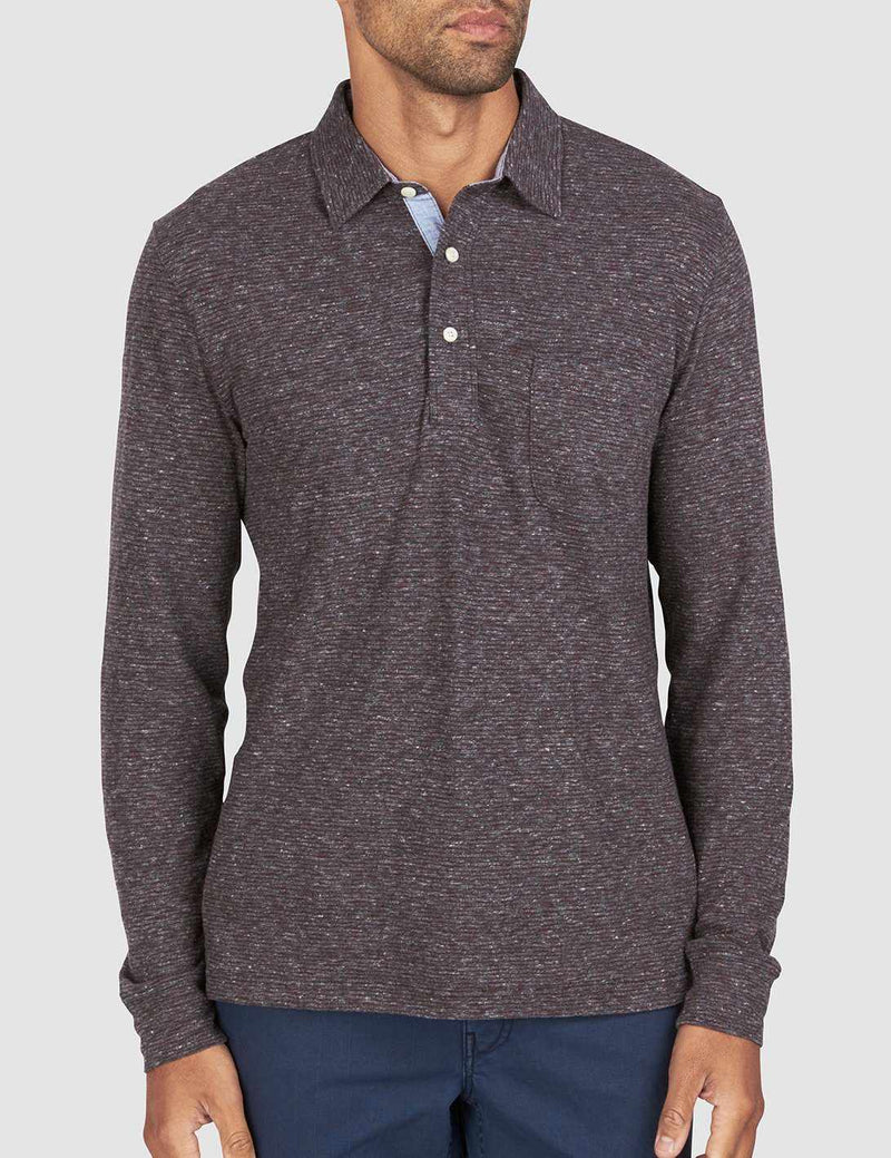 Luxe Heather Long-Sleeve Polo - Burgundy Stripe