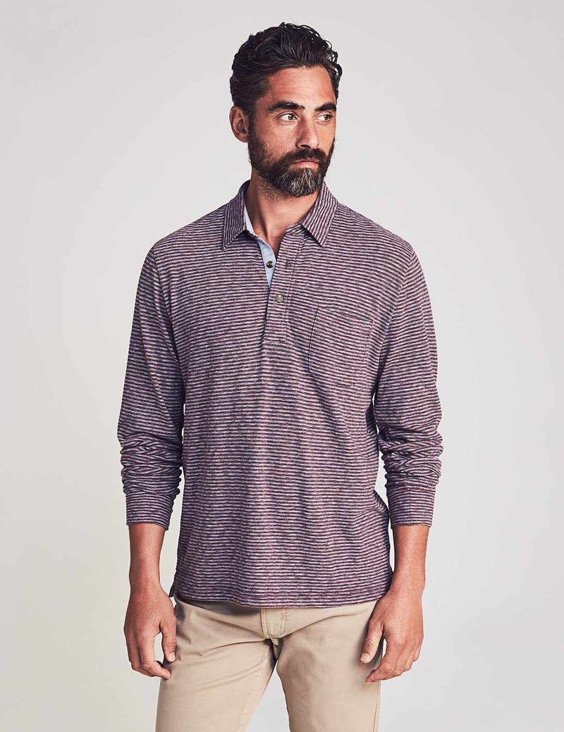 Long-Sleeve Luxe Striped Heather Polo - Merlot Navy Stripe