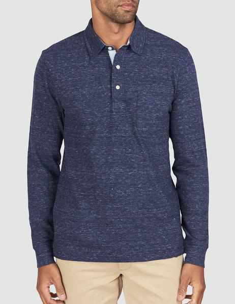 Luxe Heather Long-Sleeve Polo - Navy Stripe