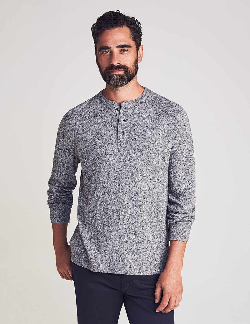 Luxe Heather Henley - Charcoal