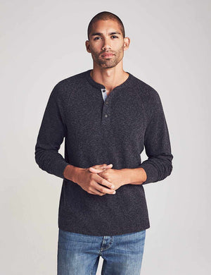 Luxe Heather Henley - Washed Black