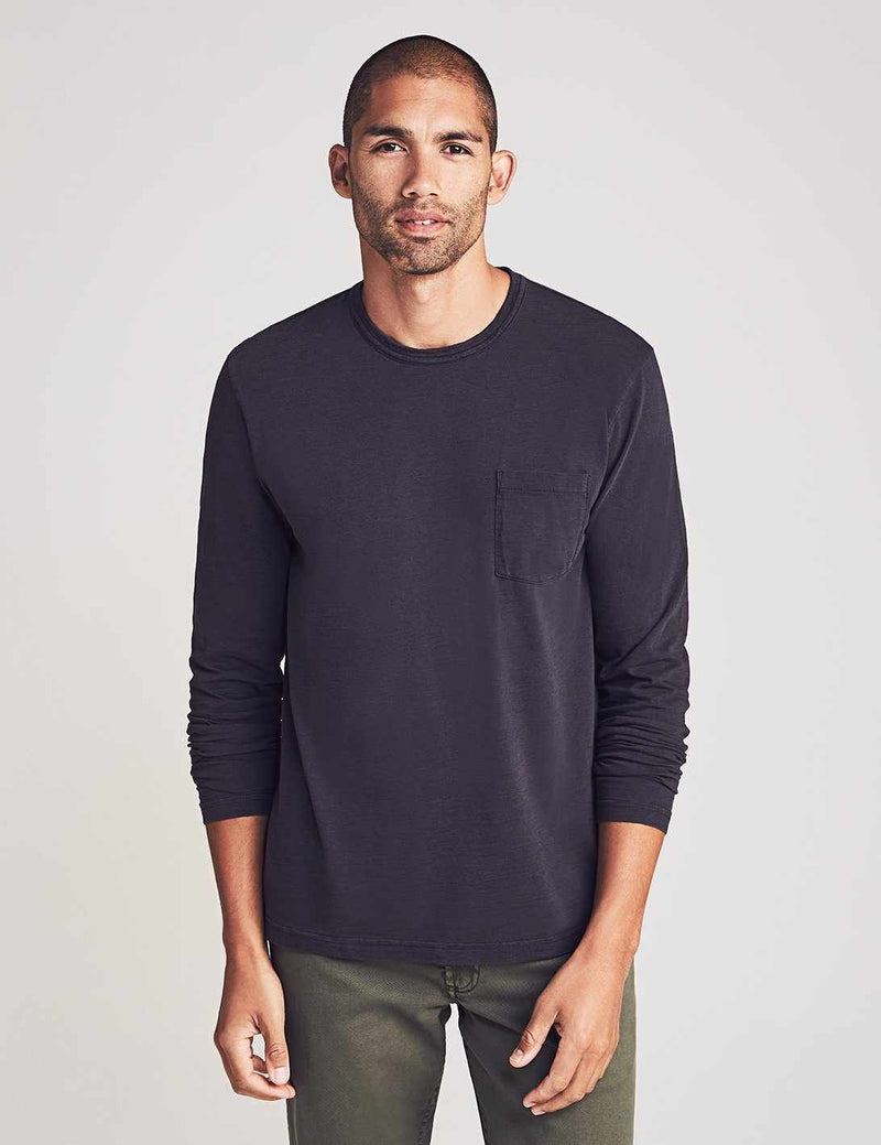 Long-Sleeve Sunwashed Pocket Tee - Washed Black