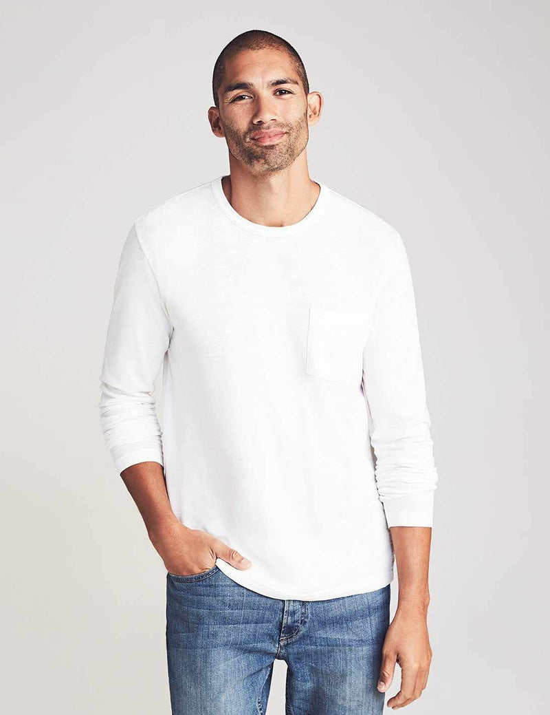 Long-Sleeve Sunwashed Pocket Tee - White