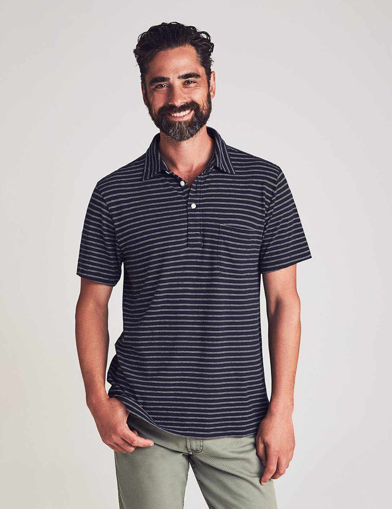Perfect Jersey Polo - Navy Stripe