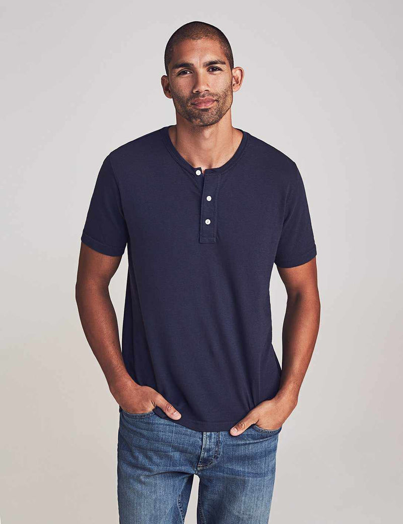 Short-Sleeve Perfect Jersey Henley - True Navy