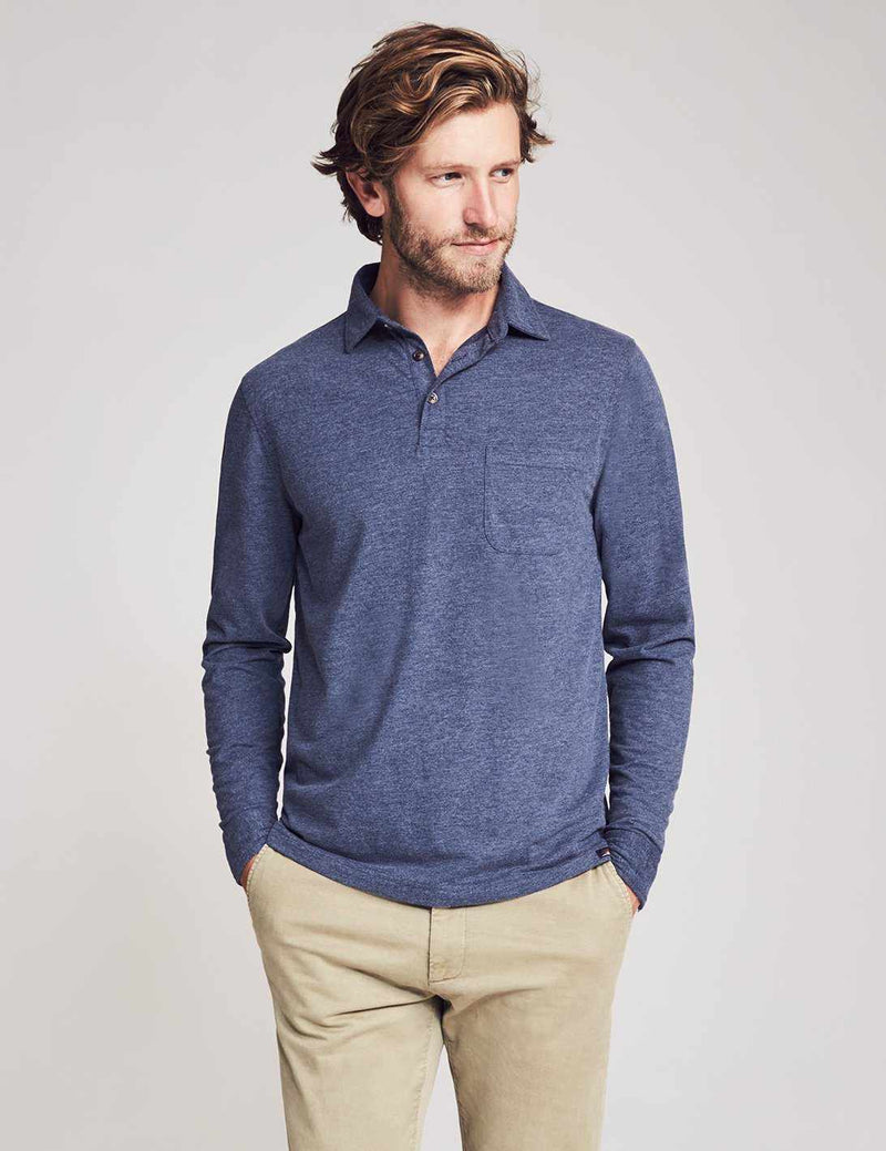 Long-Sleeve Reserve Polo - Navy Heather