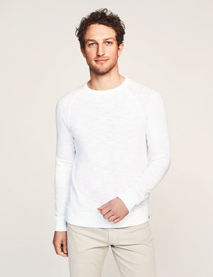 Slub Cotton Raglan Sweatshirt - White