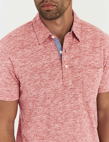 Spring Heather Polo  - Faded Red