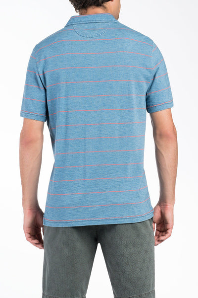 Jersey Beach Polo - Medium Indigo/Coral Stripe