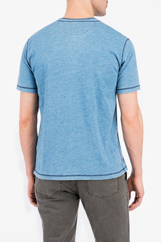 Short-Sleeve Henley - Light Wash Indigo