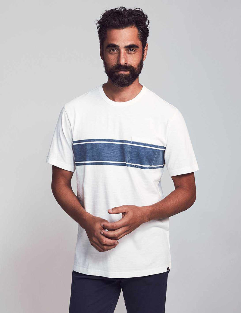 Surf Stripe Pocket Tee - White