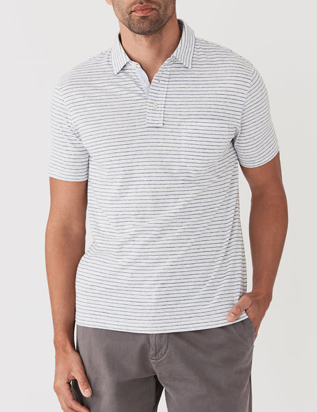 Laguna Polo - Grey Heather & Navy Stripe