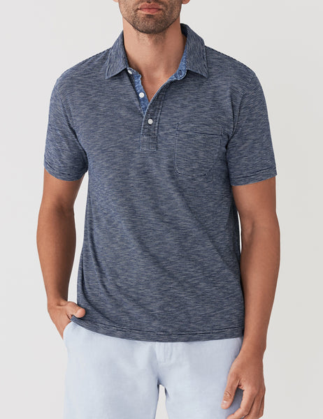 Polo - Dark Wash Feeder Stripe