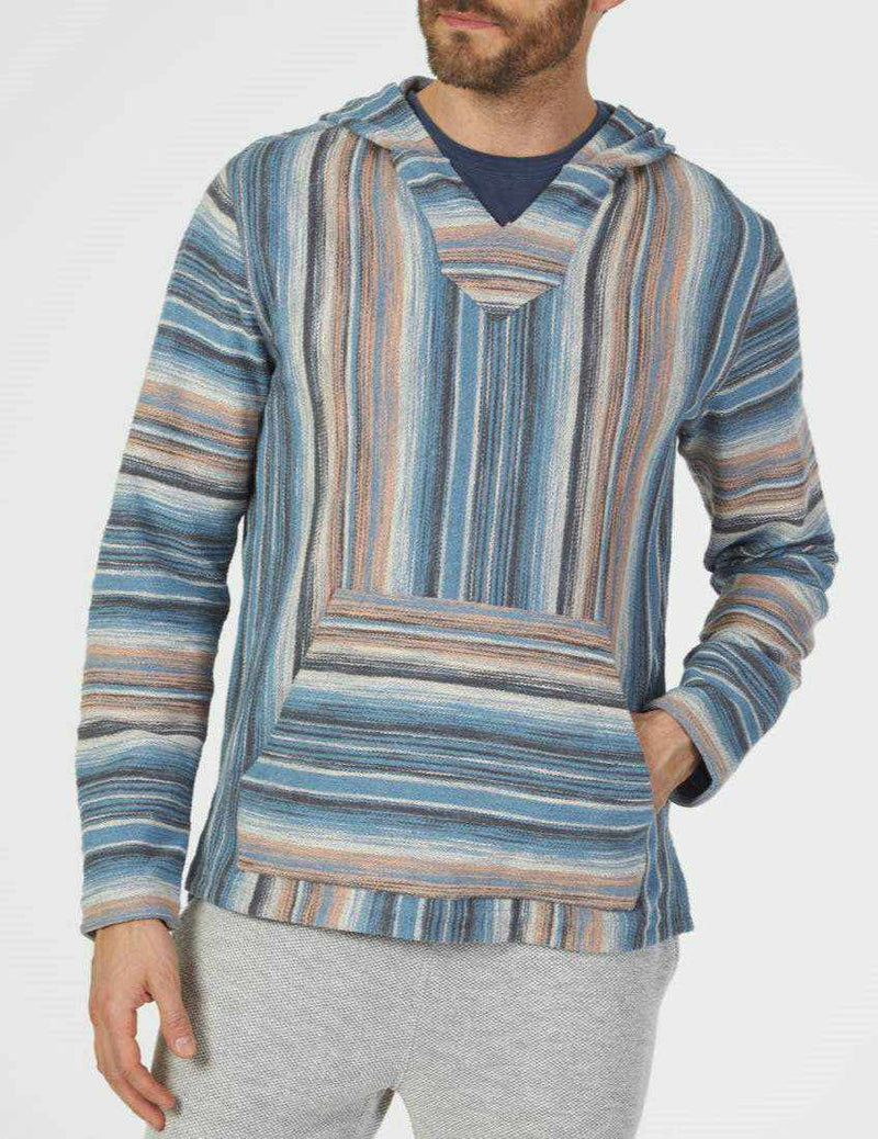 Reversible Terry Hoodie Poncho - Sun Valley Stripe