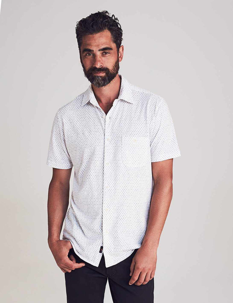 Short-Sleeve Knit Everyday Shirt - White/Fleck