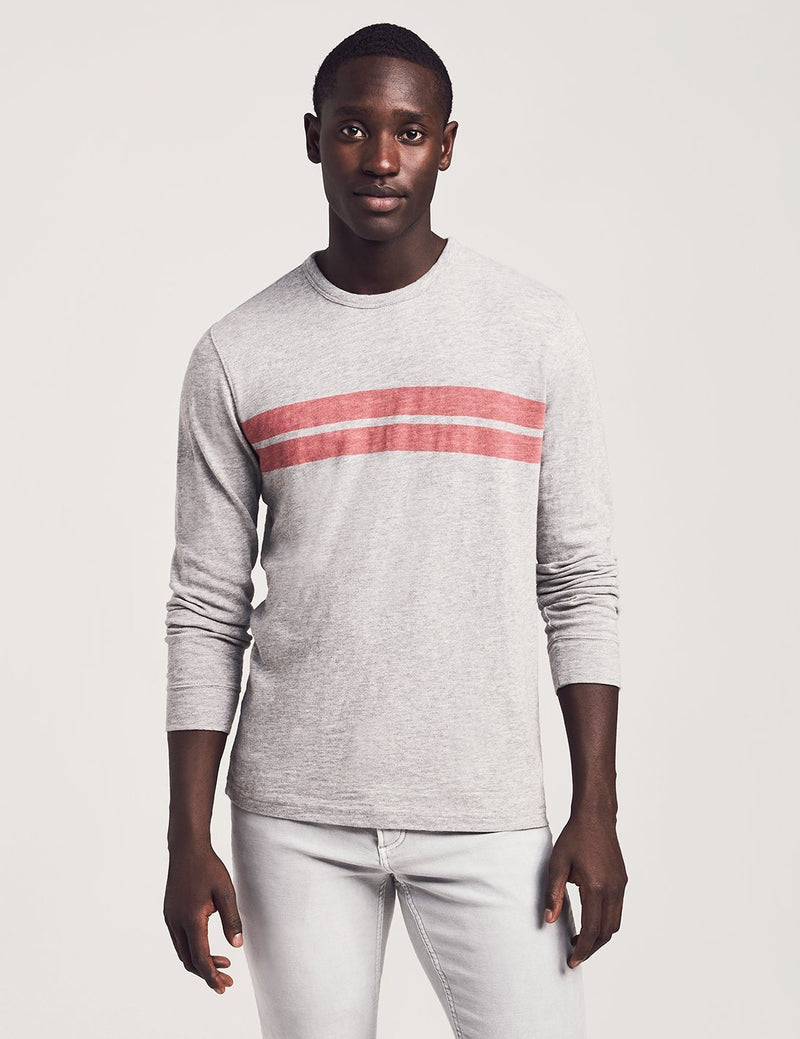 Long-Sleeve Surf Twin Stripe Crew - Grey Red Stripe