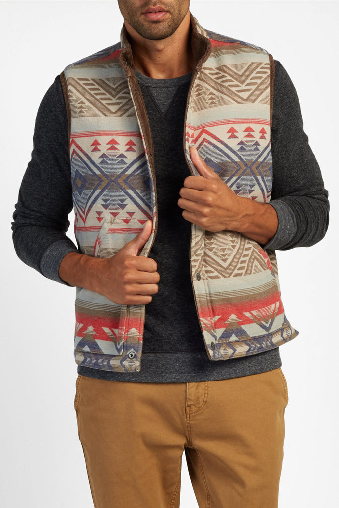 Corduroy Reversible Vest - Brown Cord/Washed Aztec