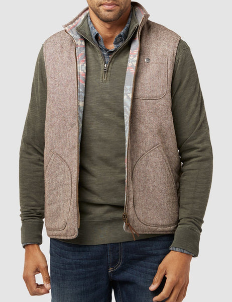 Reversible Snake River Vest - Brown Tweed/Aleutian Coast