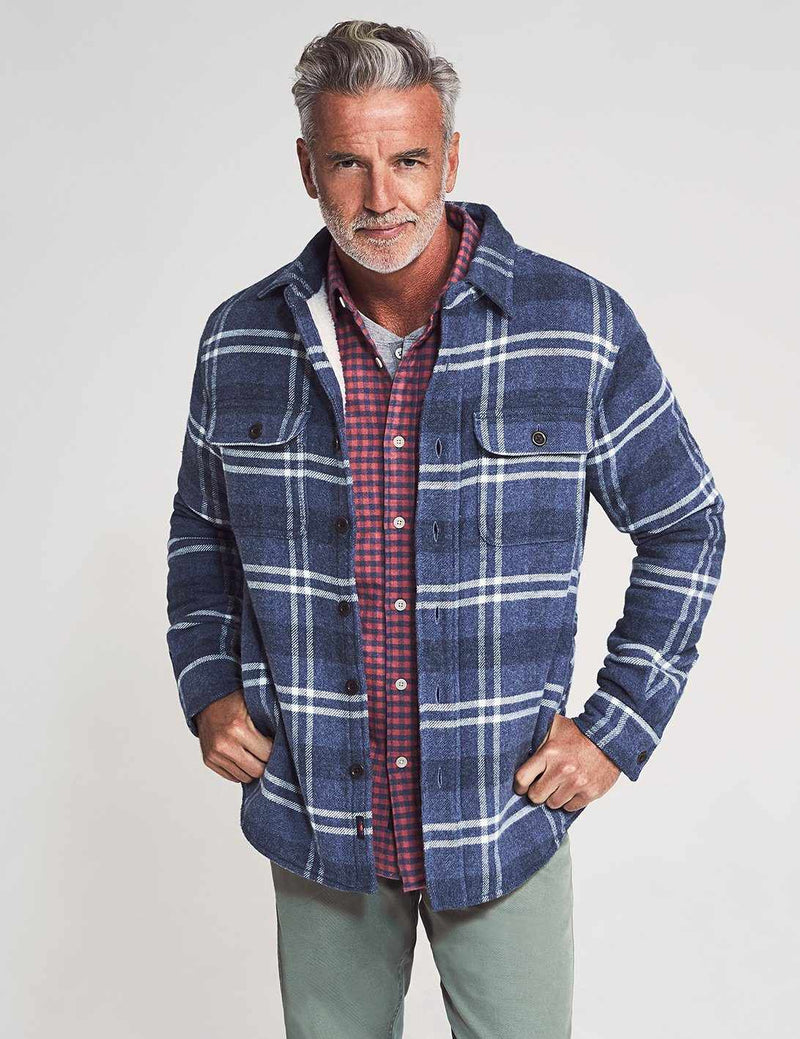 Sherpa Lined Wool CPO - Vintage Blue Plaid