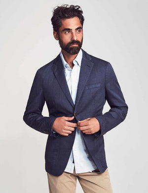 Cotton Linen Blazer - Washed Navy