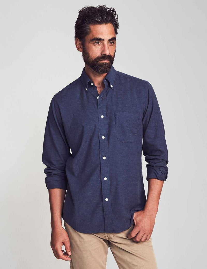 Stretch Oxford Shirt - Navy Melange