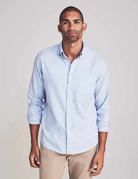 Stretch Oxford Shirt - Blue Melange
