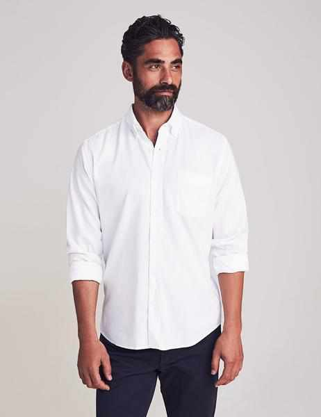 Stretch Oxford Shirt - White Melange